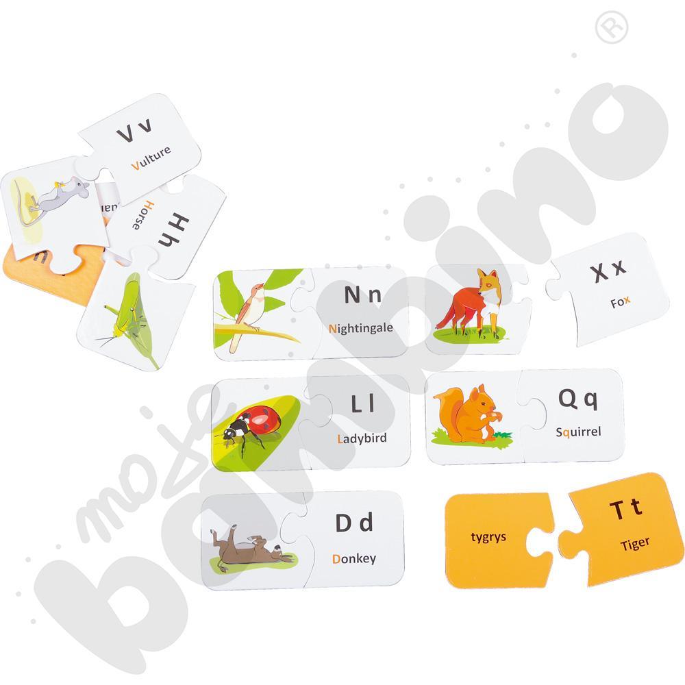 Dwustronne puzzle do j. angielskiego - alfabet zwierząt