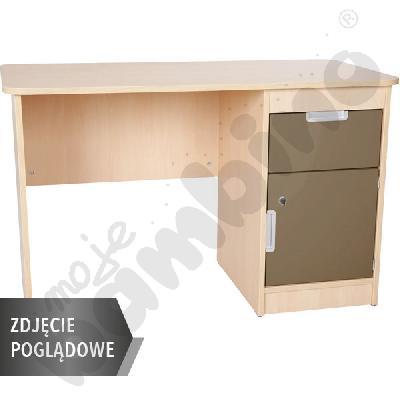 Quadro - biurko z szafką i 1 szufladą  - brązowe, w białej skrzyni