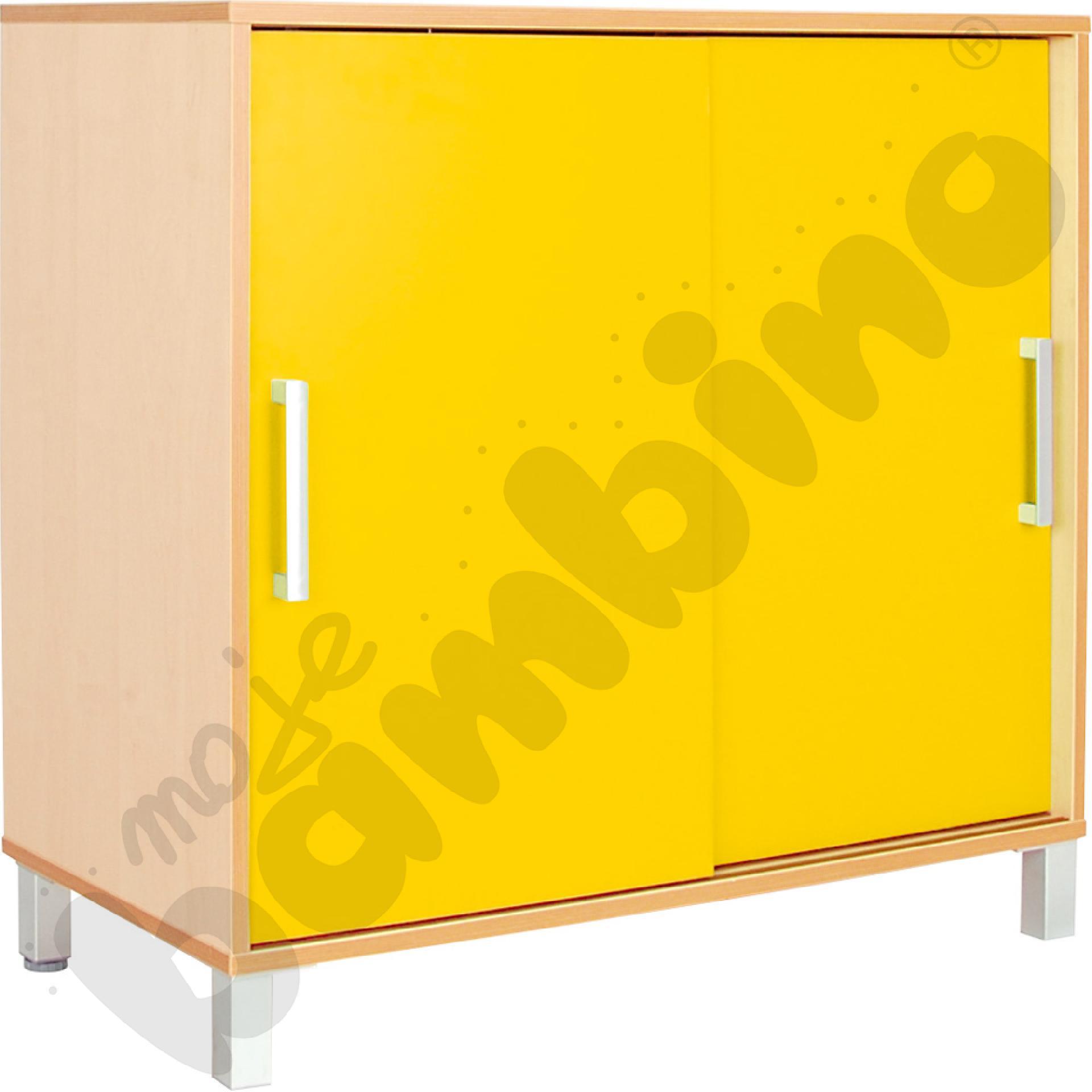 Szafka Premium z przesuwanymi drzwiami - żółta