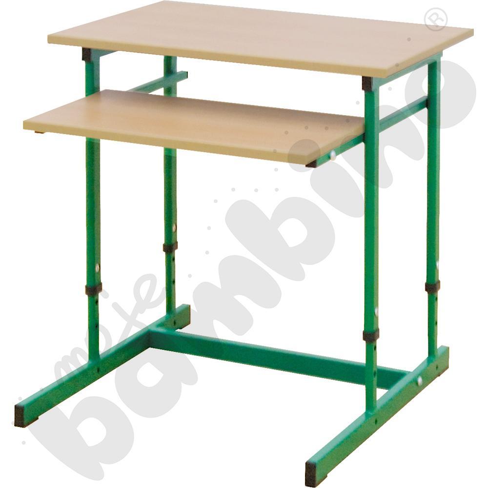 Stolik komputerowy NEO 1R 1 os. z regulowaną wysokością 3-7 - zielony