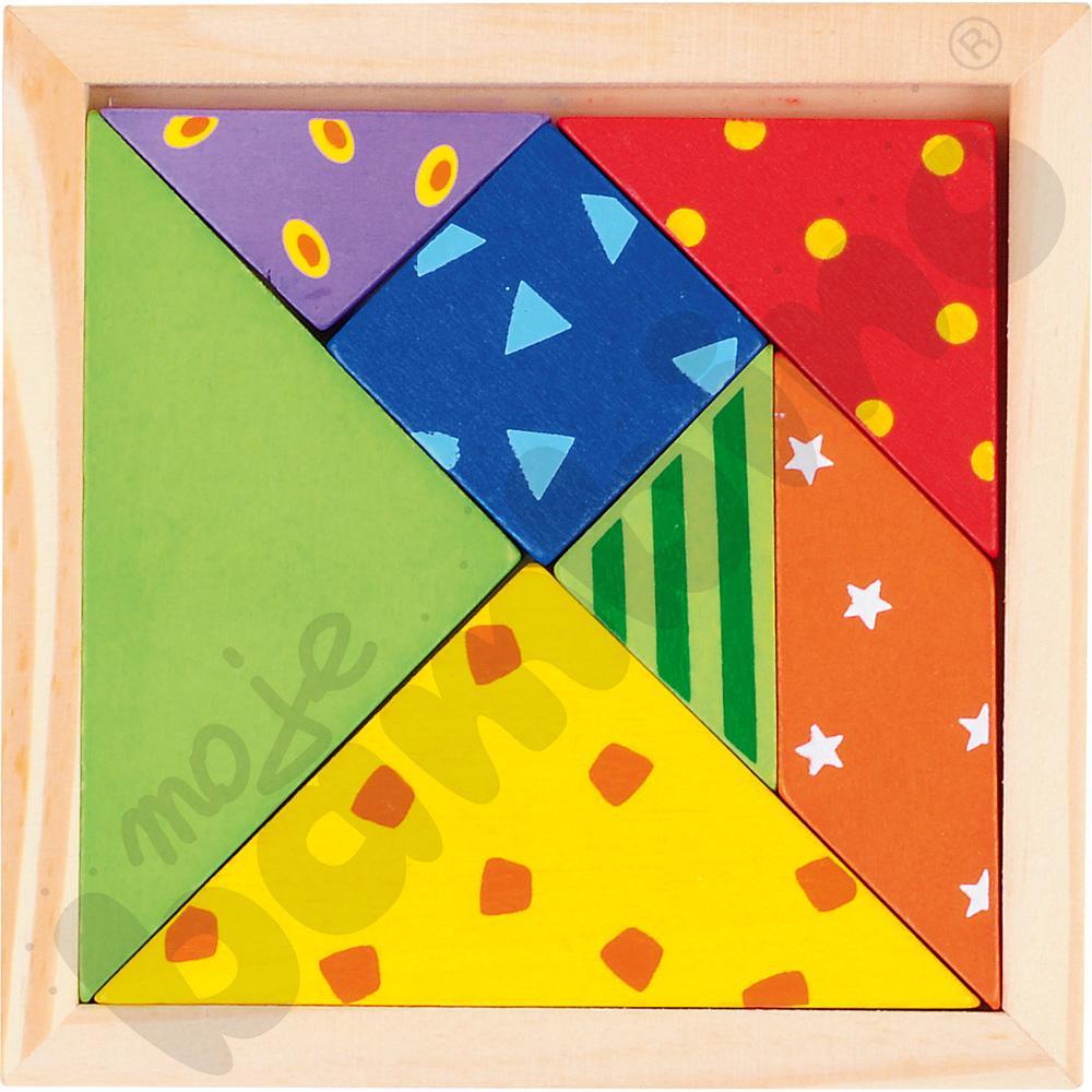 Kolorowy drewniany tangram