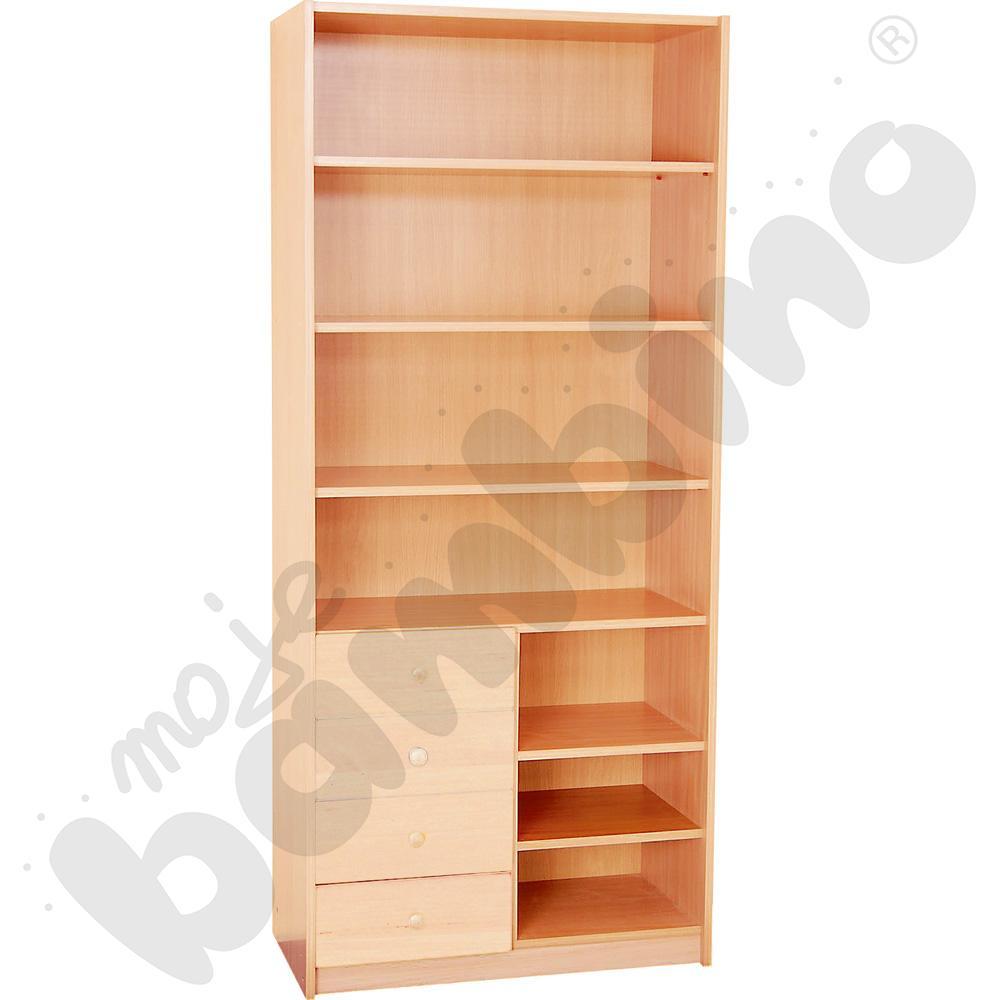 Szafa wysoka z półkami i na szuflady