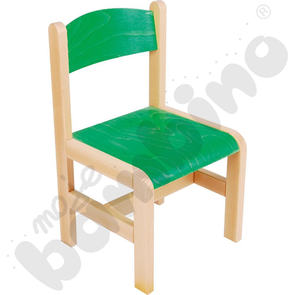 Krzesło drewniane zielone ze stopką filcową rozm. 3