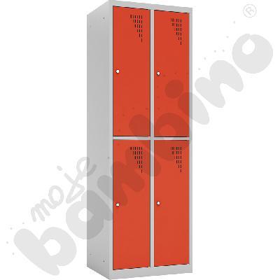 Szafka ubraniowa z 4 schowkami drzwi czerwone