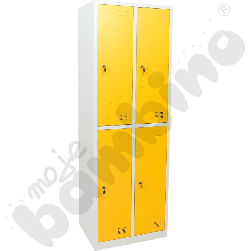 Szafka ubraniowa z 4 schowkami drzwi żółte