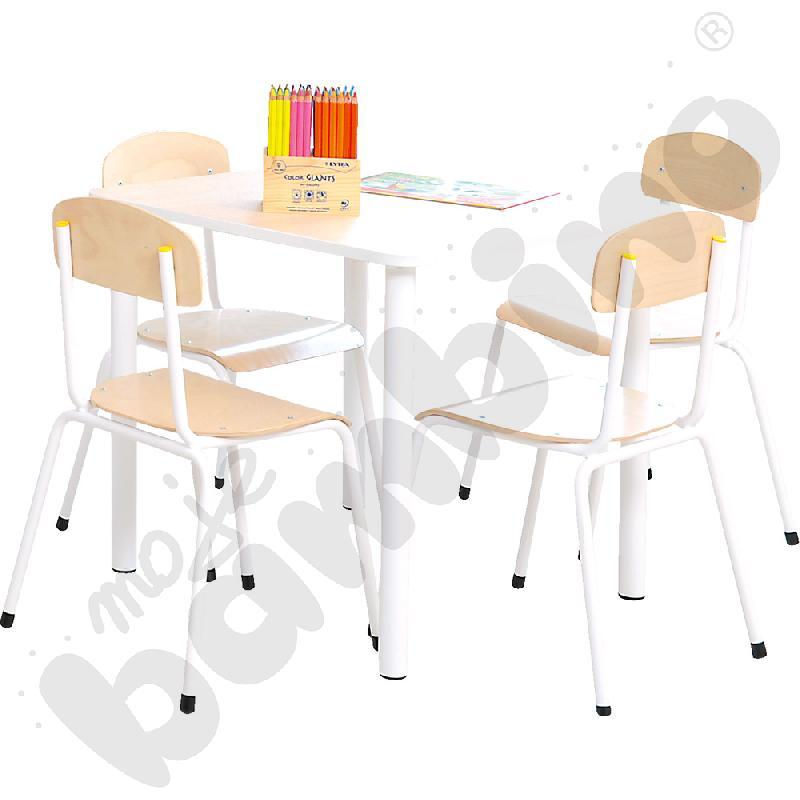 Stół Bambino kwadratowy z 4 krzesłami Bambino rozm. 2