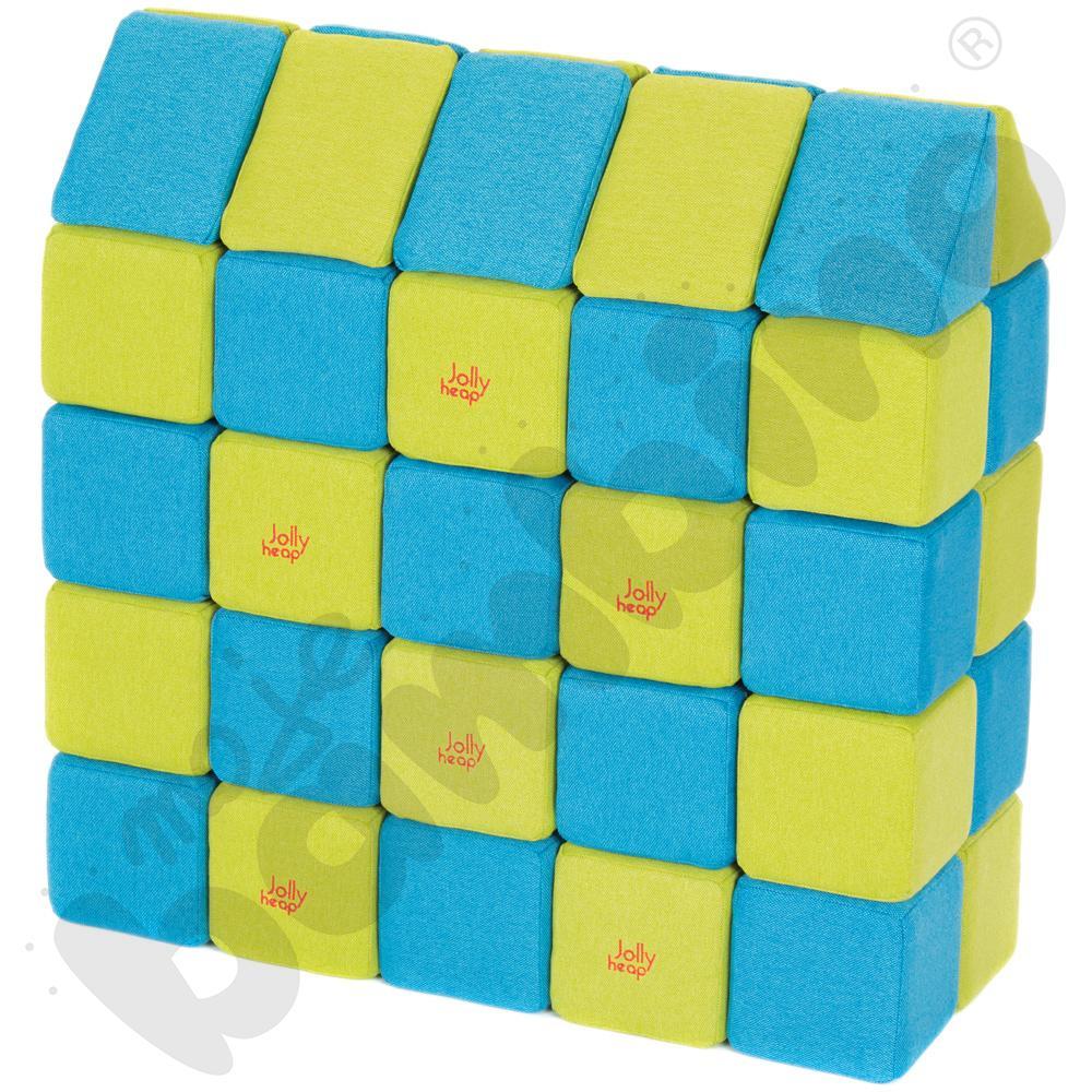 Zestaw klocków JollyHeap - niebiesko-limonkowe, 50 szt.