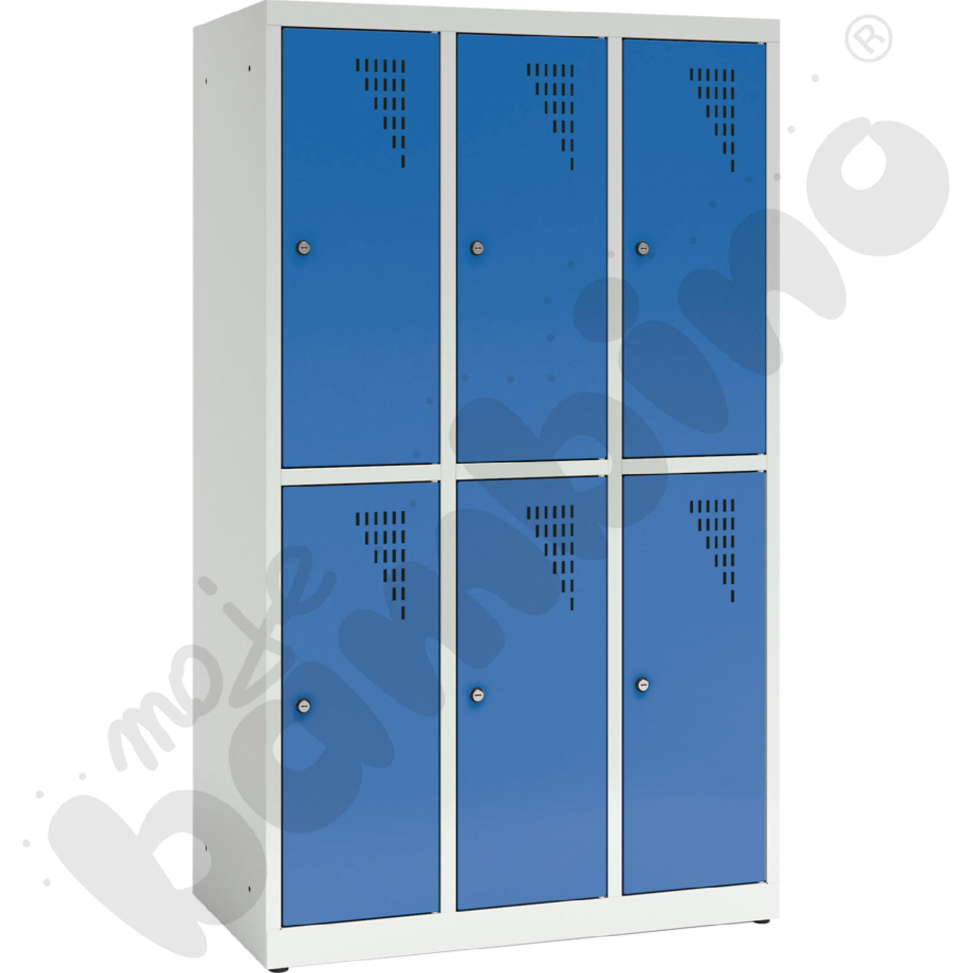 Szafa ubraniowa z 6 schowkami, 150 cm - drzwi niebieskie