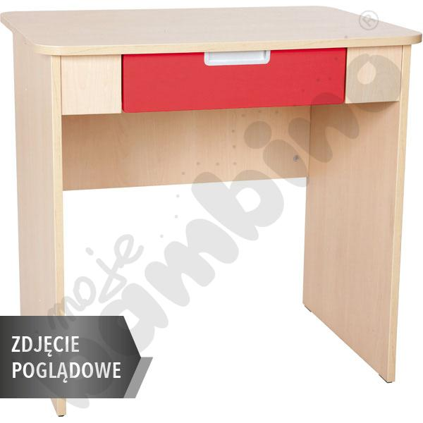 Quadro - biurko z szeroką szufladą - czerwone, w białej skrzyni