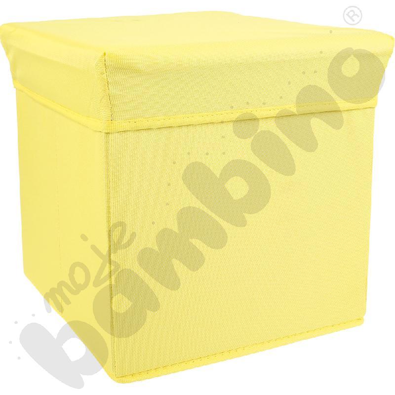 Pufa-pojemnik z tkaniny - żółta