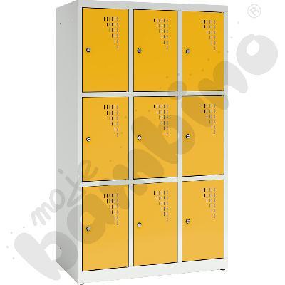Szafa ubraniowa z 9 schowkami, 150 cm - drzwi żółte