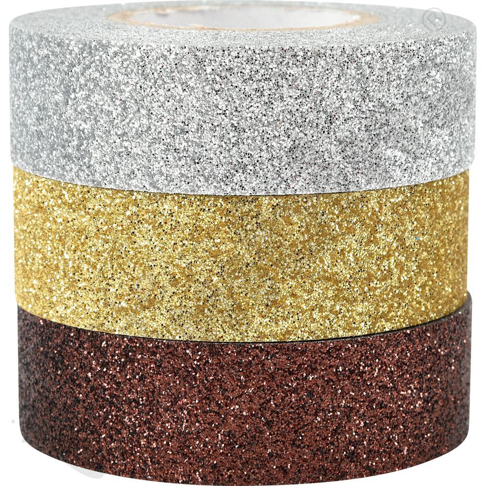 Taśmy brokatowe samoprzylepne (srebrna, złota, brązowa)