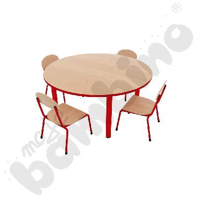 Stół Bambino okrągły + 4 krzesła Bambino rozm. 0 czerwonych