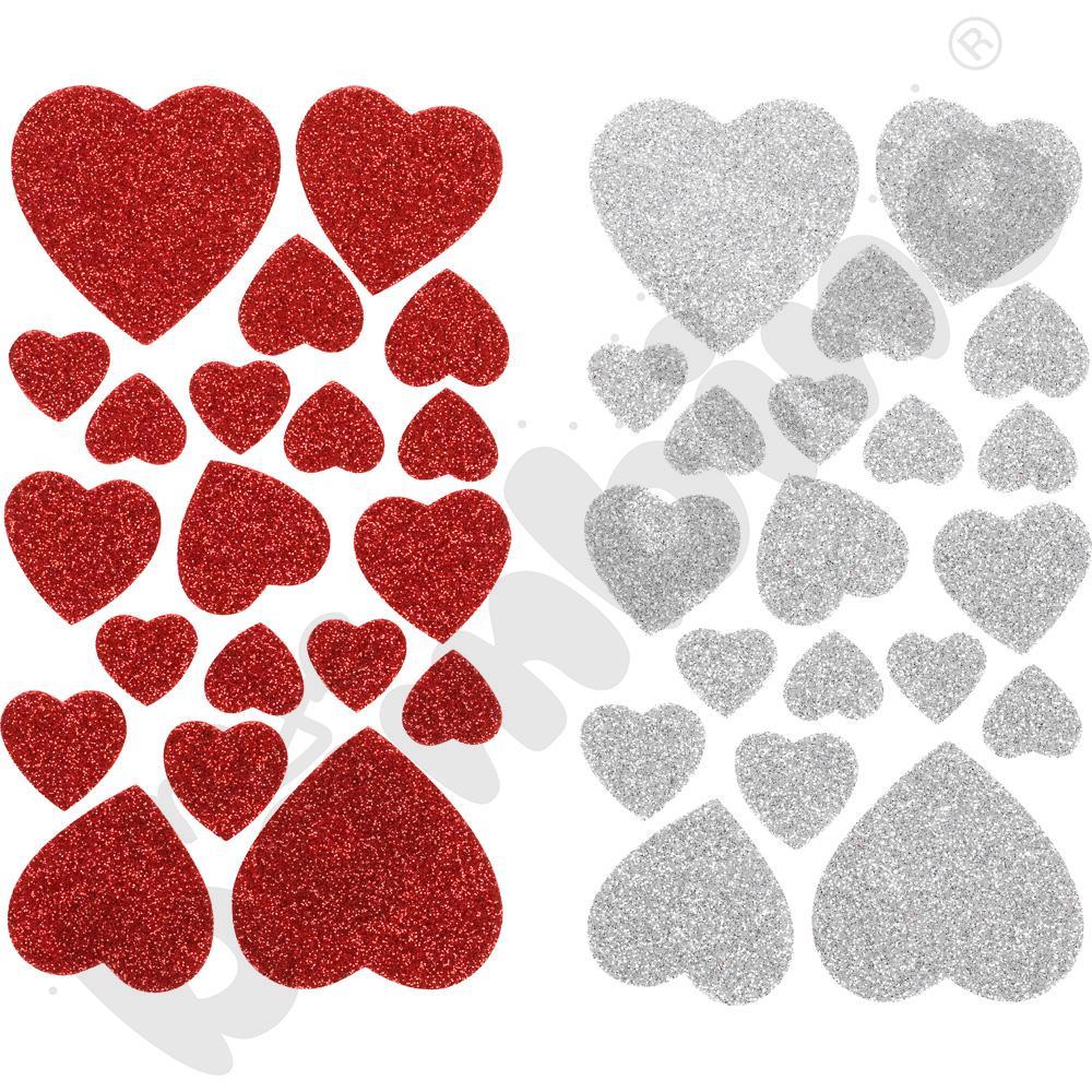 Serca z brokatem – naklejki