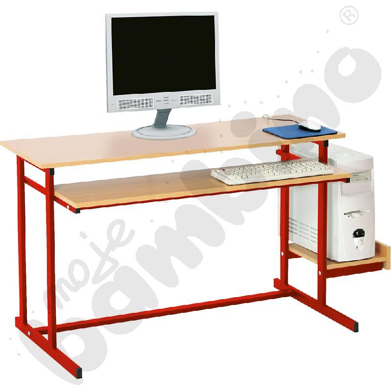 Stolik komputerowy NEO 2, 2-os. ze stałą półką na klawiaturę  rozm. 6 - czerwony