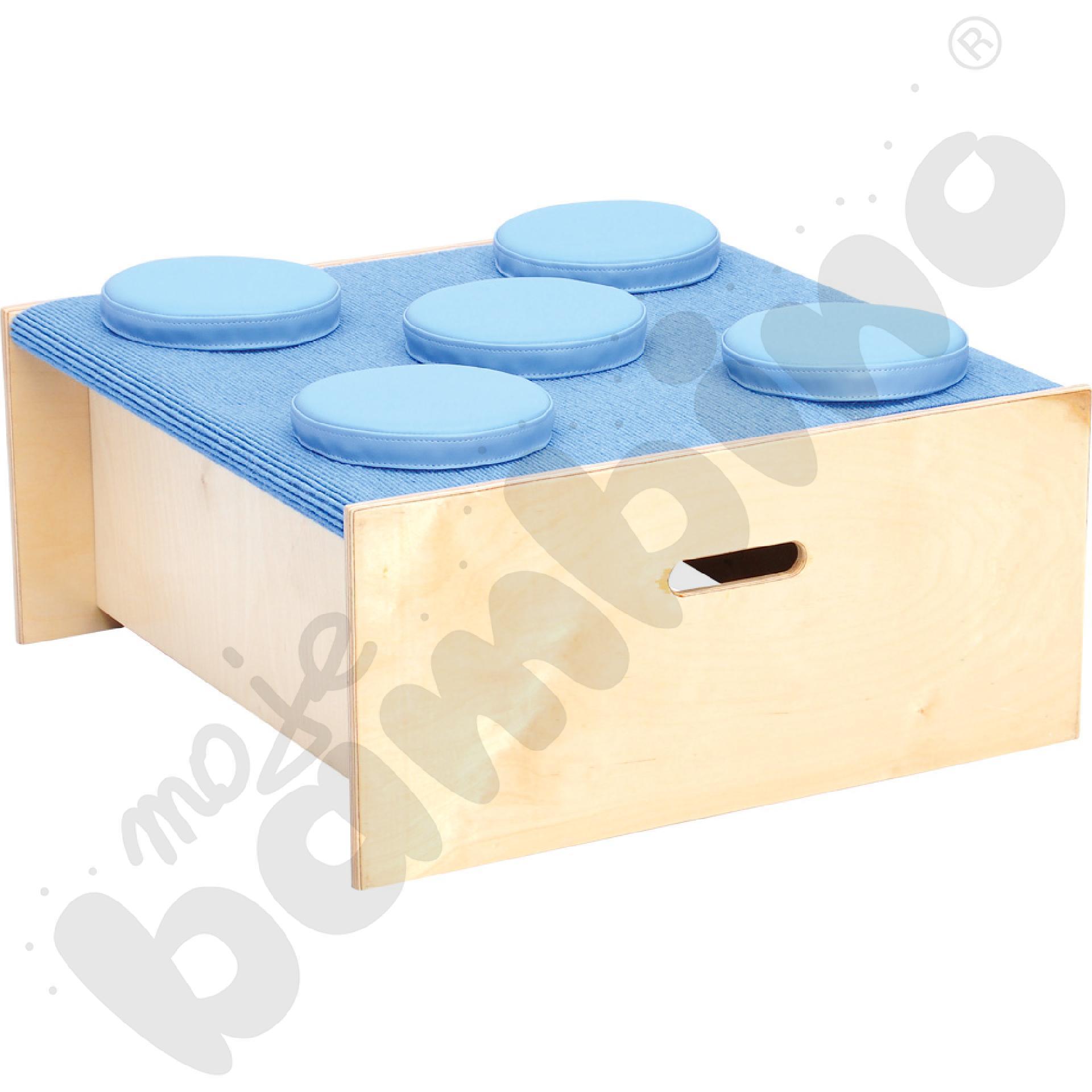 Podest kwadrat - wys. 30 cm jasnoniebieski z piankowymi poduszkami