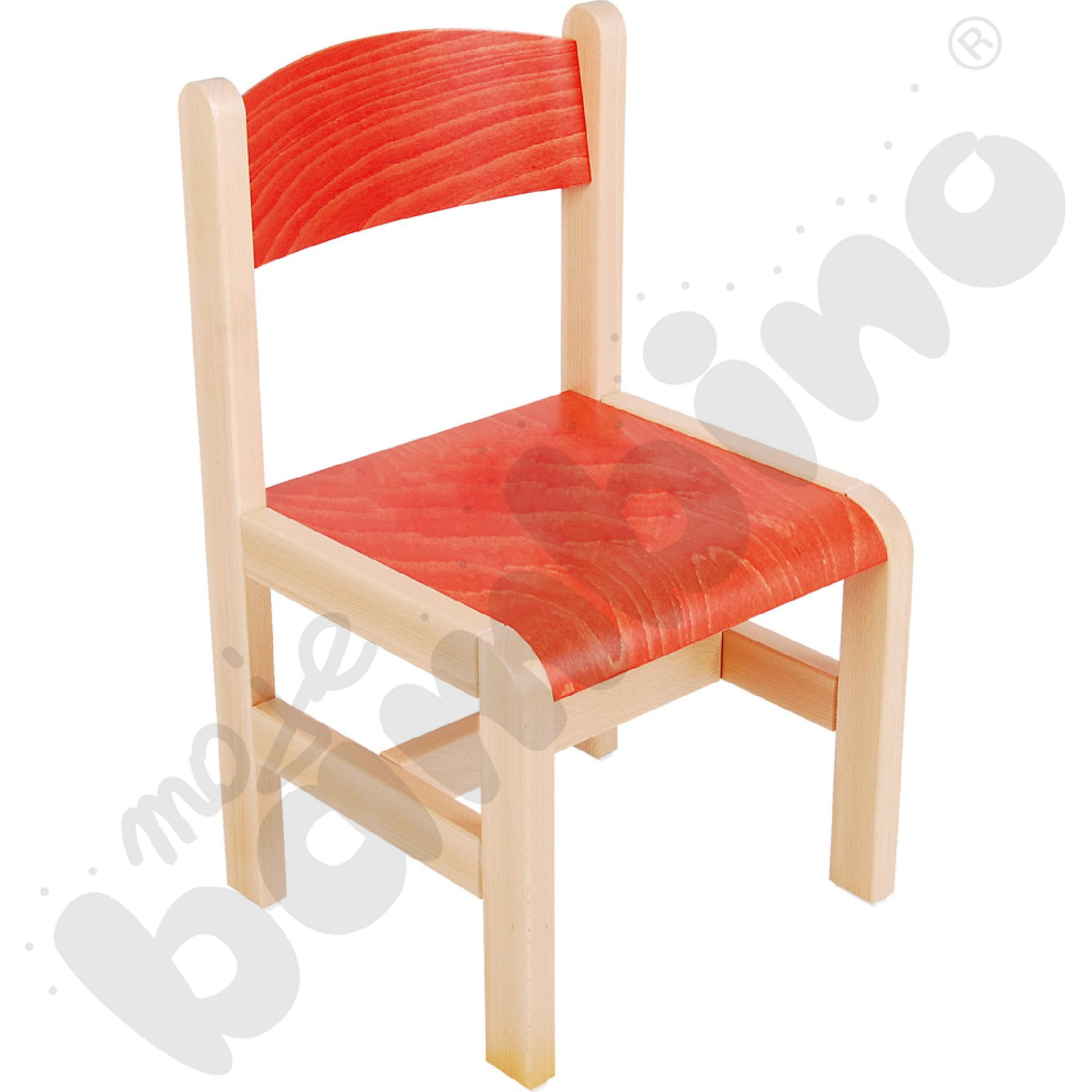 Krzesło drewniane pomarańczowe rozm. 3