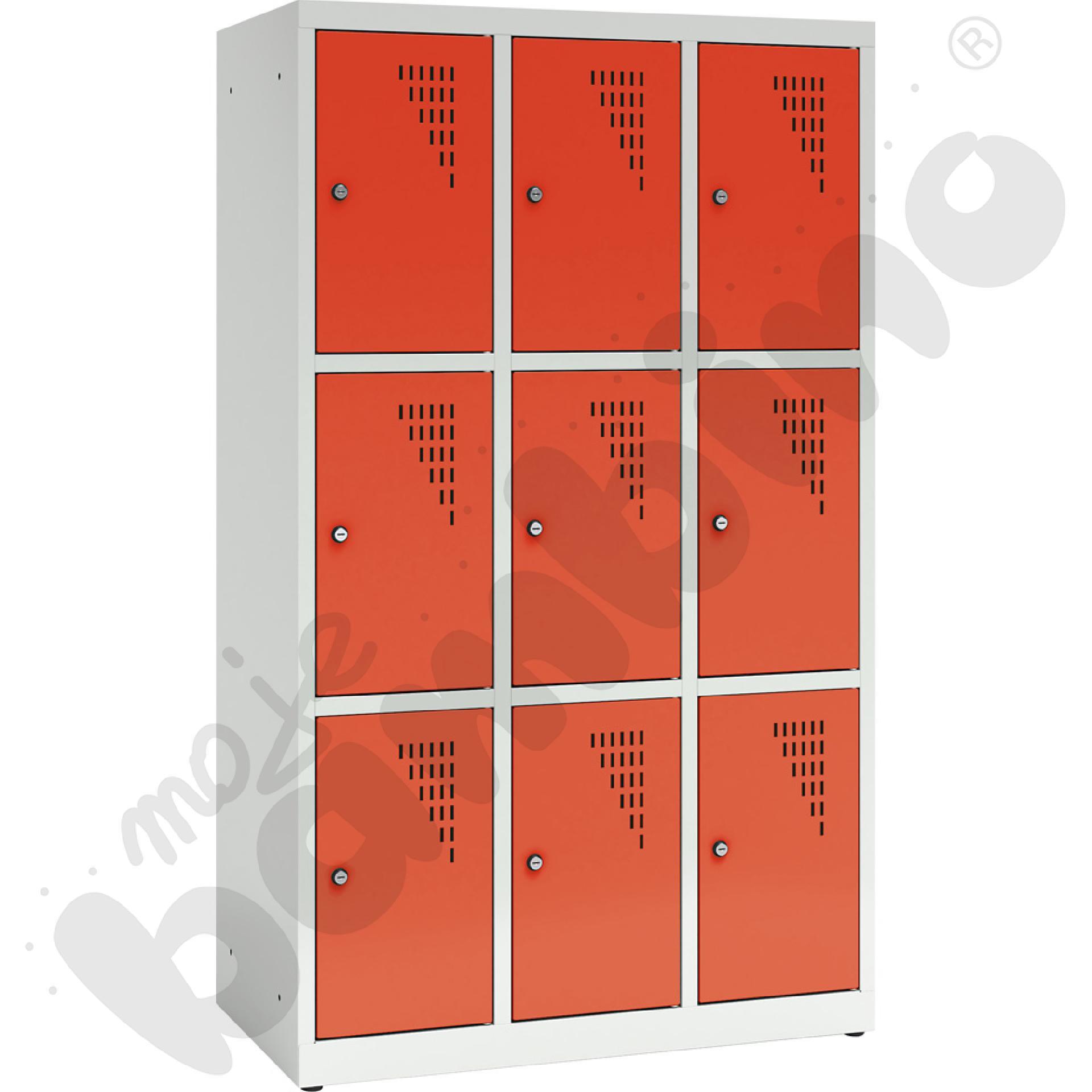 Szafa ubraniowa z 9 schowkami, 150 cm - drzwi czerwone