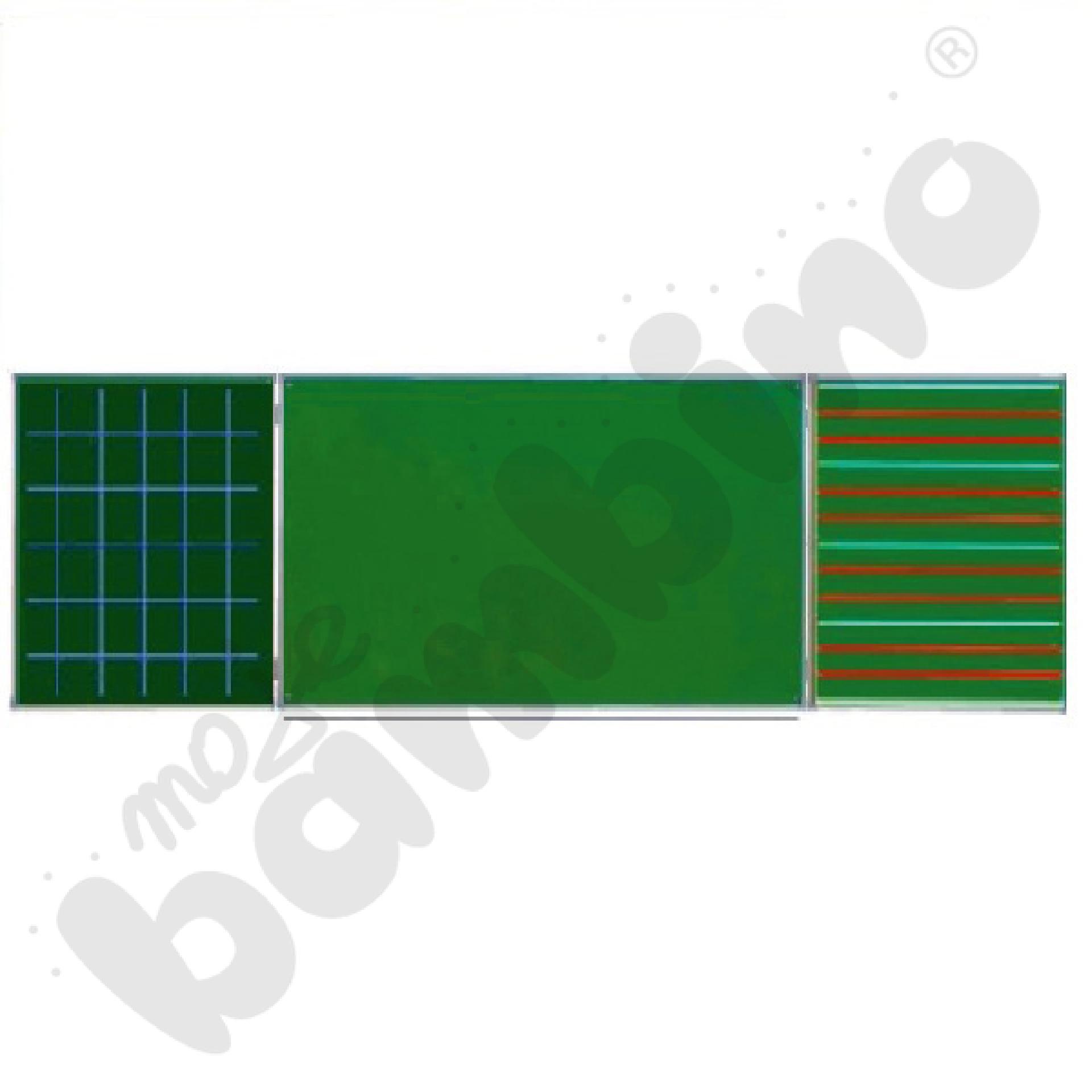 Tablica zielona tryptyk 340x100 cm (na skrzydłach kratka i 3linia)
