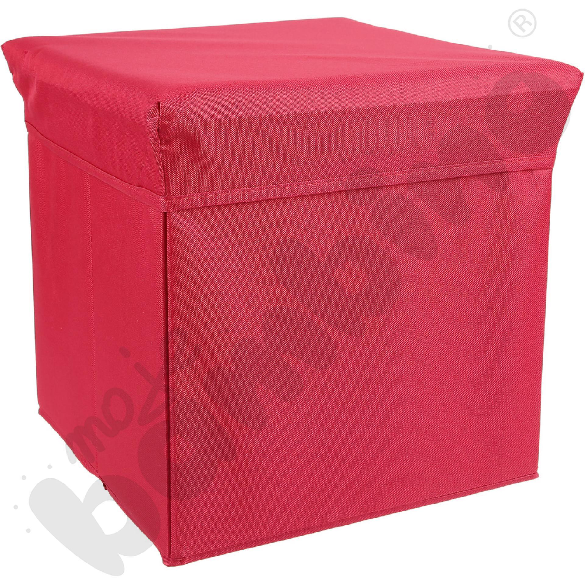 Pufa-pojemnik z tkaniny - czerwona