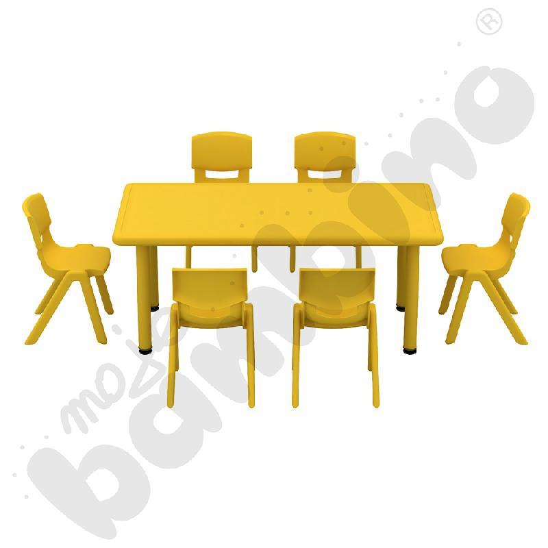 Stół Dumi prostokątny - żółty