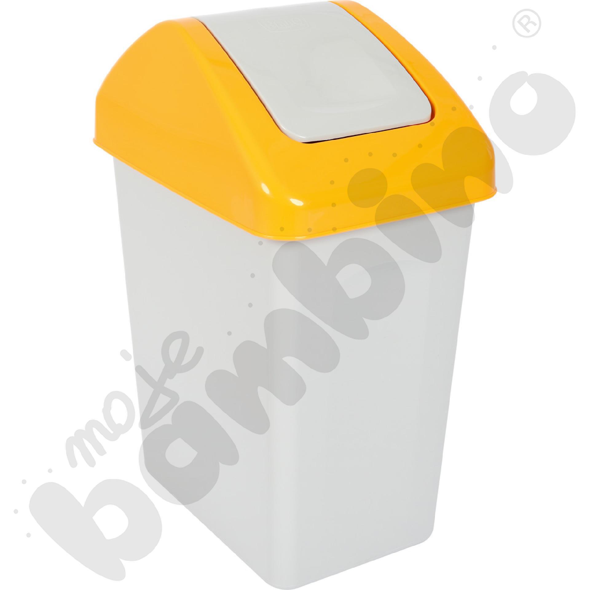 Kosz na śmieci z uchylną pokrywą 25 l, żółty