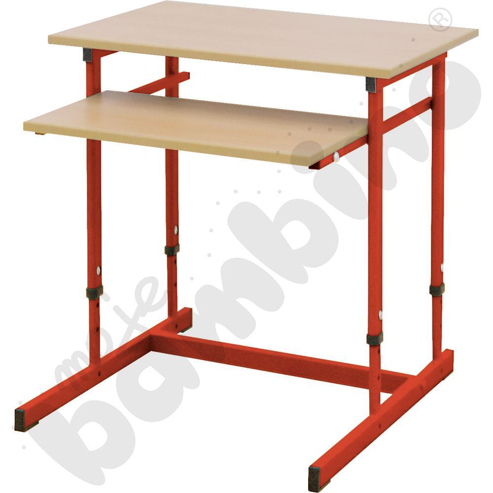 Stolik komputerowy NEO 1R 1 os. z regulowaną wysokością 3-7 - czerwony