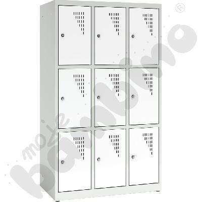 Szafa ubraniowa z 9 schowkami, 150 cm - drzwi białe