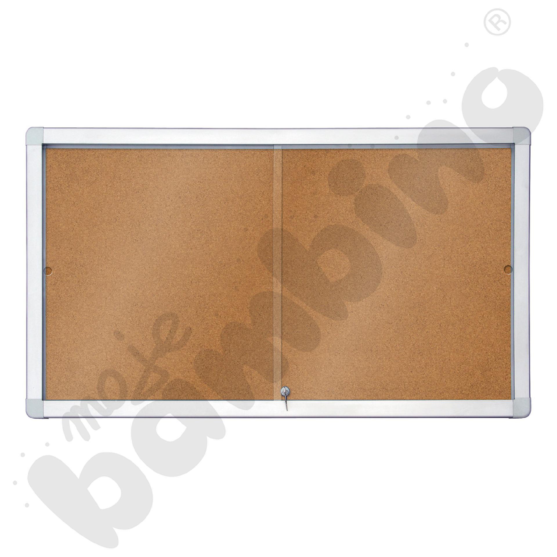 Gablota wewnętrzna korkowa z przesuwnymi drzwiami 141 x 101 cm