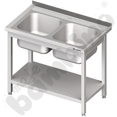 Stół ze zlewem 2 komorowym z półką