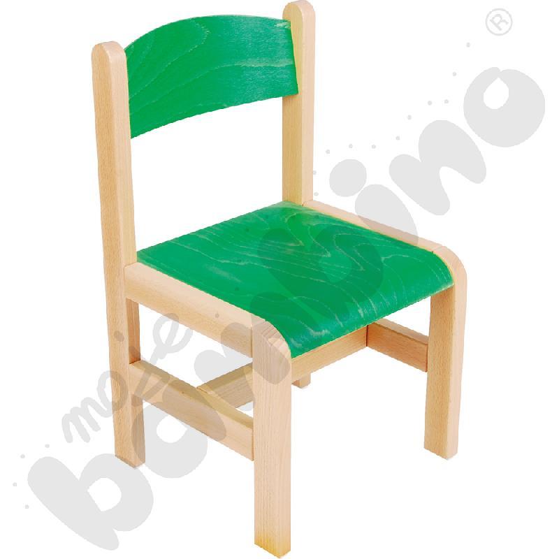 Krzesło drewniane zielone ze stopką filcową rozm. 2