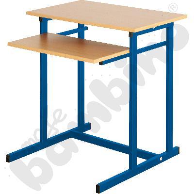 Stolik komputerowy NEO 1 1-os. ze stałą półką na klawiaturę rozm. 6 - niebieski