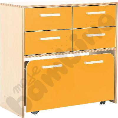 Szafka Premium z pojemnikiem na kółkach - pomarańczowa