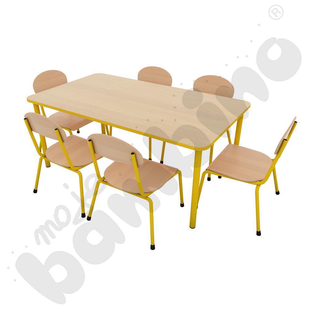 Stół Bambino prostokątny + 6 krzeseł Bambino rozm. 1 żółtych