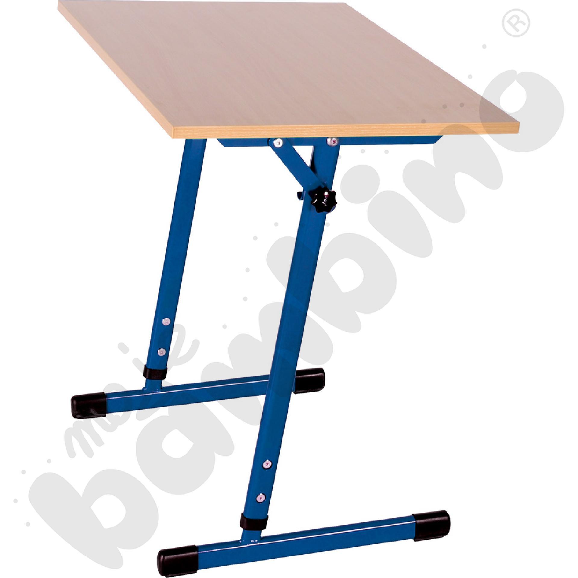 Stół T 1-os. z regulowaną wysokością 3-4, z pochylnym blatem niebieski