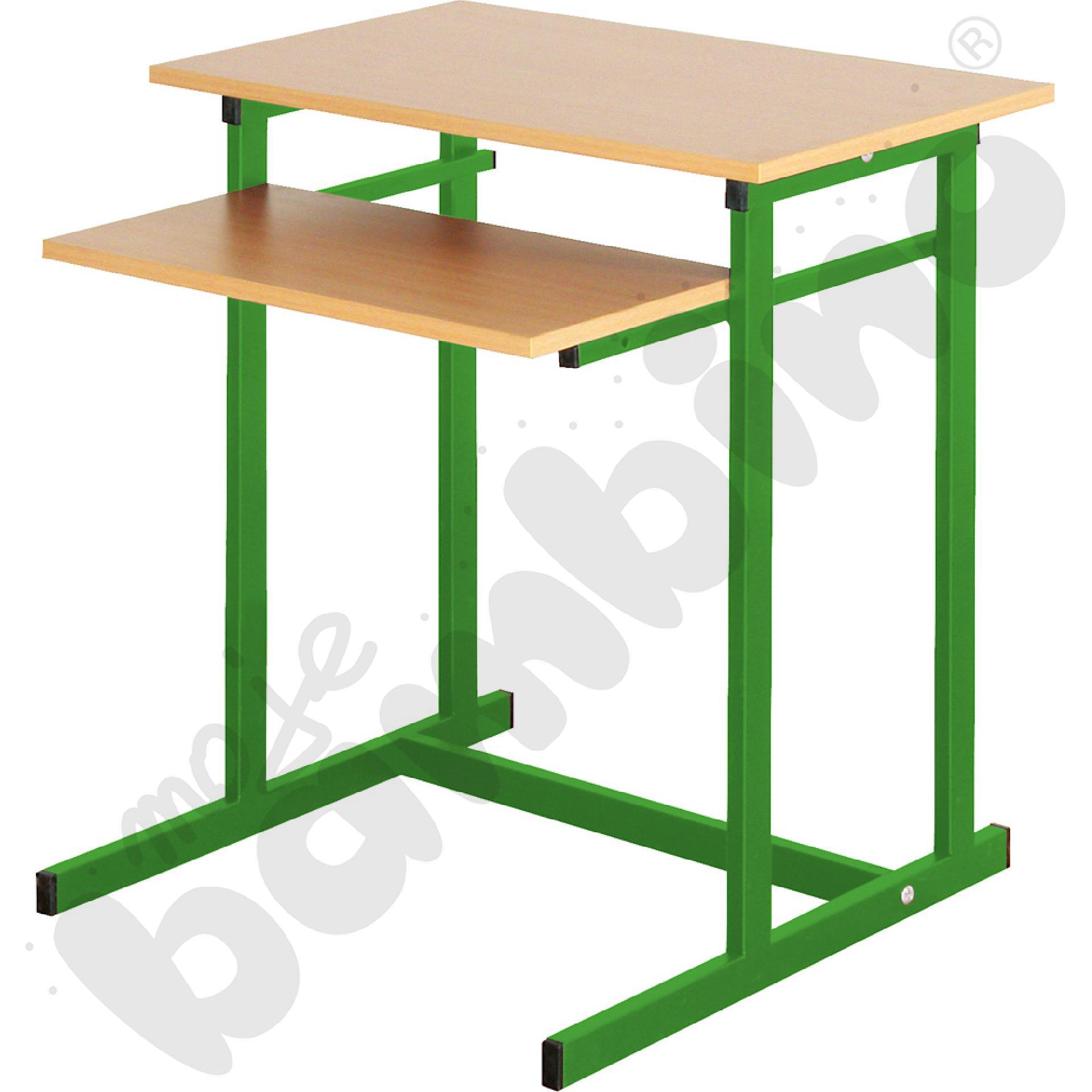 Stolik komputerowy NEO 1 1-os. ze stałą półką na klawiaturę  rozm. 6 - zielony