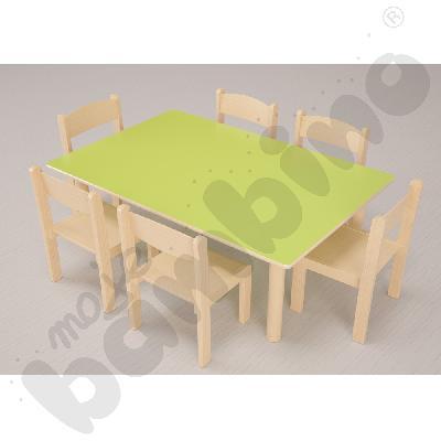 Stół Flexi prostokątny zielony + 6 krzeseł Filipek rozm. 1 buk