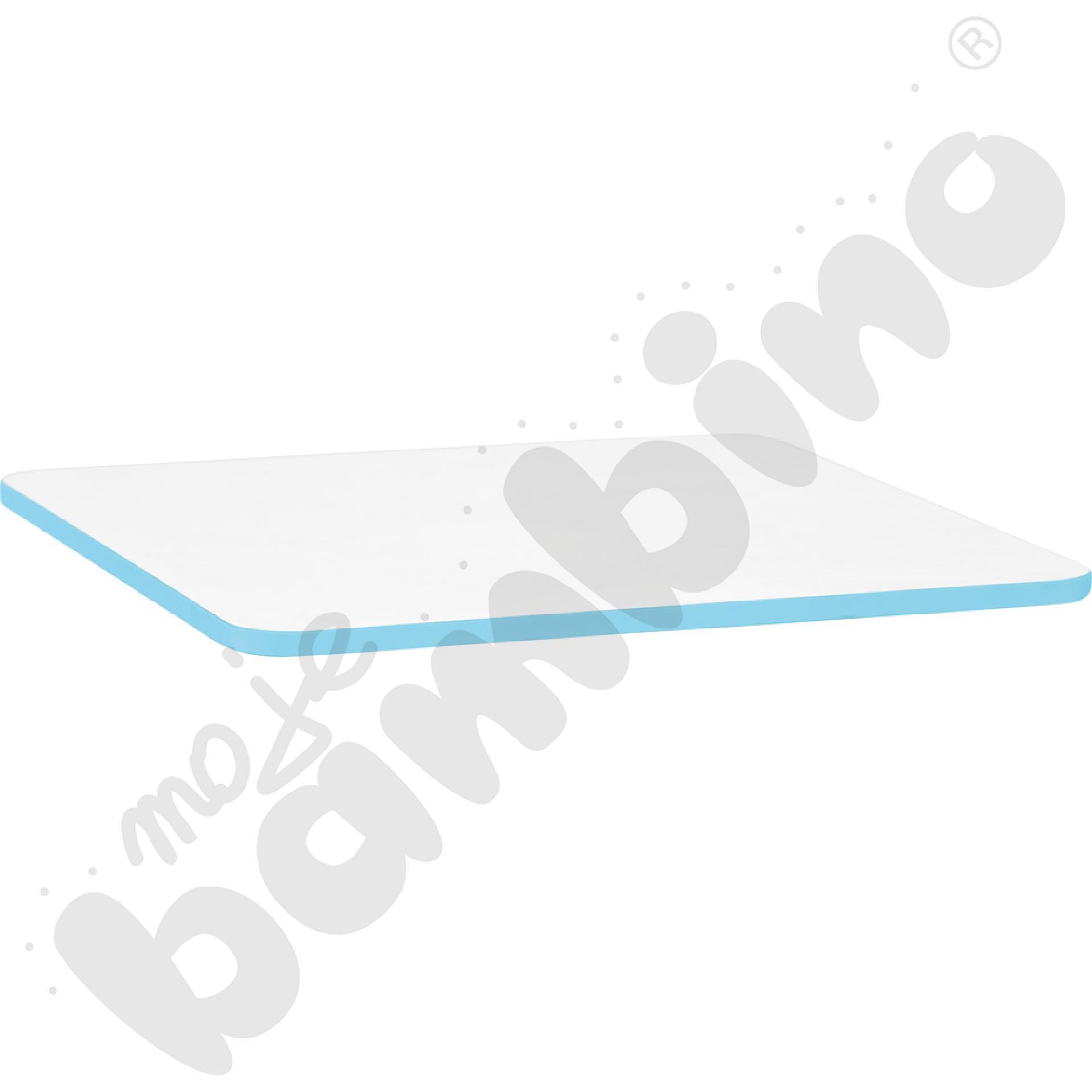 Blat Quadro biały prostokątny, jasnoniebieskie obrzeże