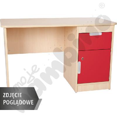 Quadro - biurko z szafką i 1 szufladą  - czerwone, w białej skrzyni