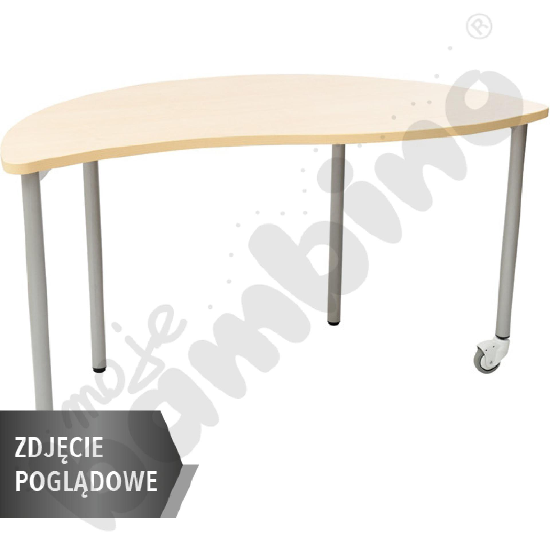 Stół Mila półokrągły z falą, mobilny, rozm. 6 - brzoza