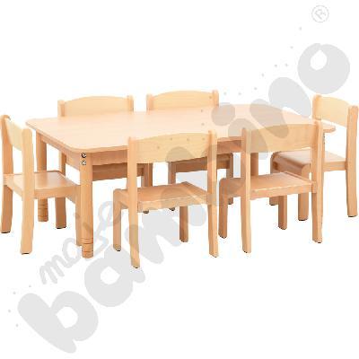 Stół prostokątny buk z 6...