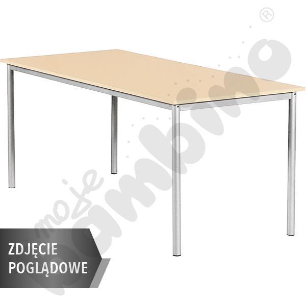 Stół Mila 160x80 rozm. 5, 8os., stelaż żółty, blat biały, obrzeże ABS, narożniki proste