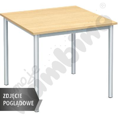 Stół Mila 80x80 rozm. 6, 4os., stelaż aluminium, blat klon, obrzeże ABS, narożniki proste