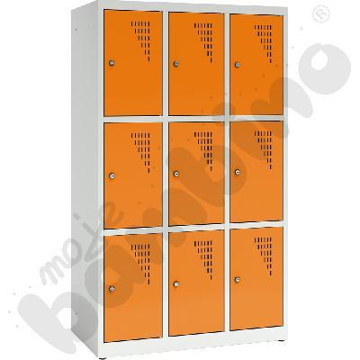 Szafa ubraniowa z 9 schowkami, 150 cm - drzwi pomarańczowe
