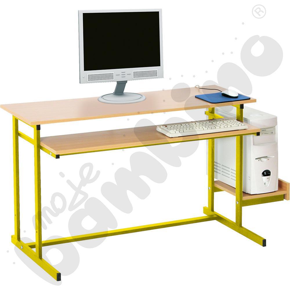 Stolik komputerowy NEO 2  2-os. ze stałą półką na klawiaturę rozm. 6 - żółty
