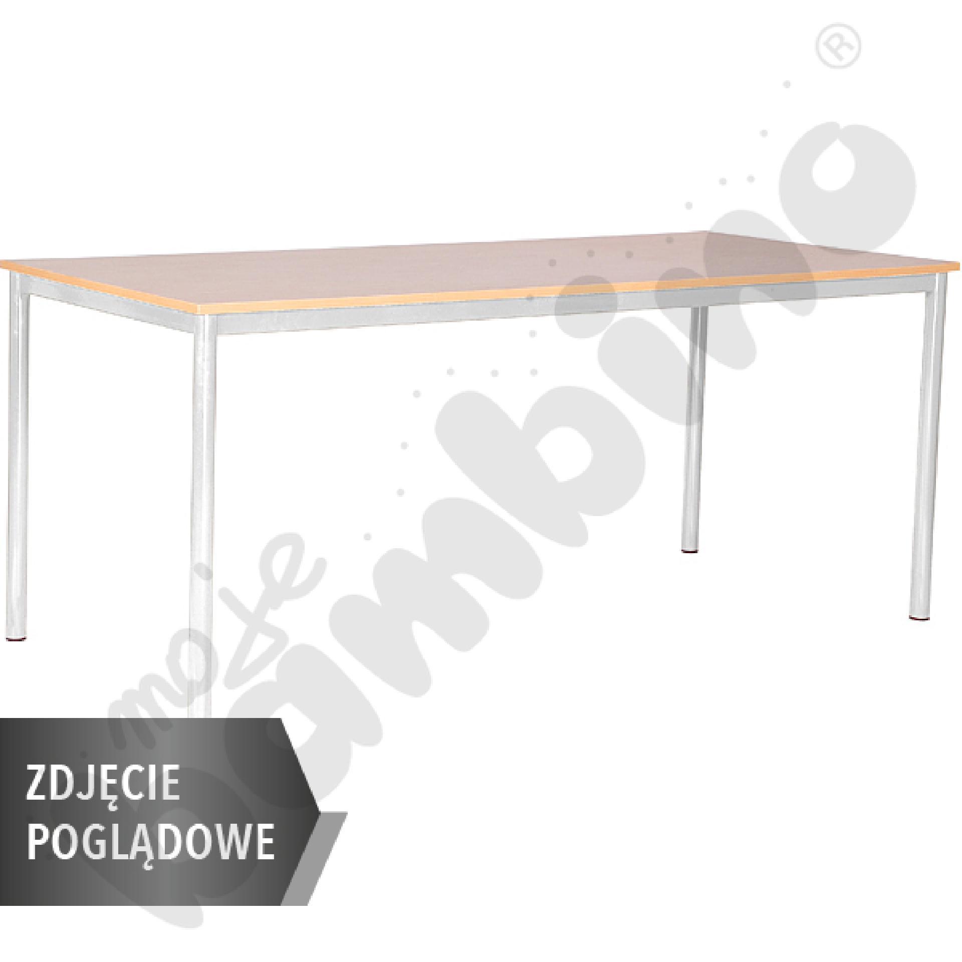 Stół Mila 180x80 rozm. 6, 8os., stelaż czerwony, blat buk, obrzeże ABS, narożniki proste