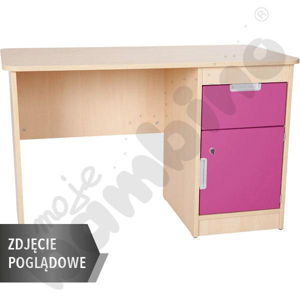 Quadro - biurko z szafką i 1 szufladą  - ciemnoróżowe, w białej skrzyni
