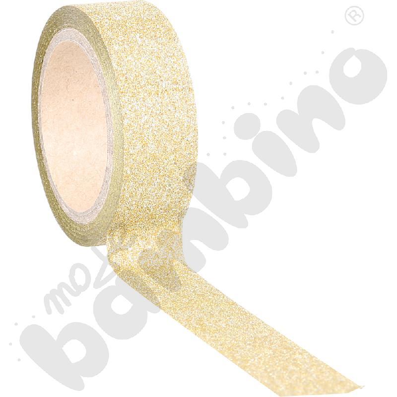 Brokatowa tasiemka samoprzylepna złota