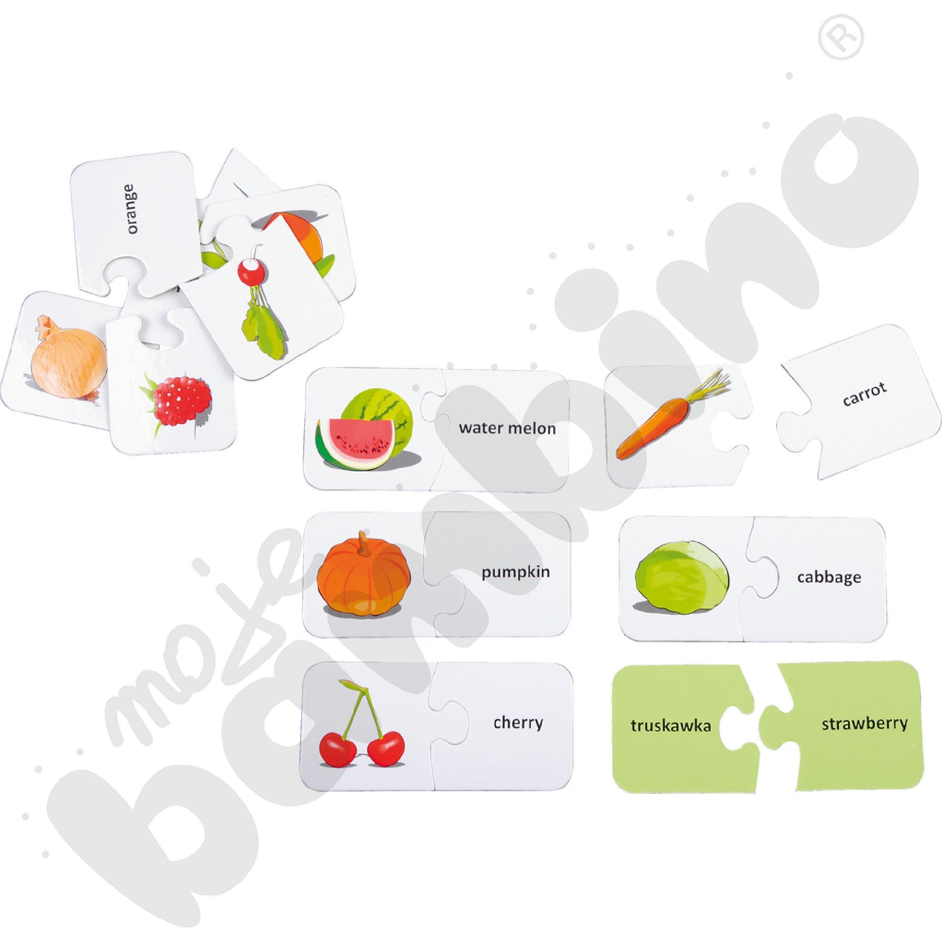 Dwustronne puzzle do j. angielskiego - owoce i warzywa
