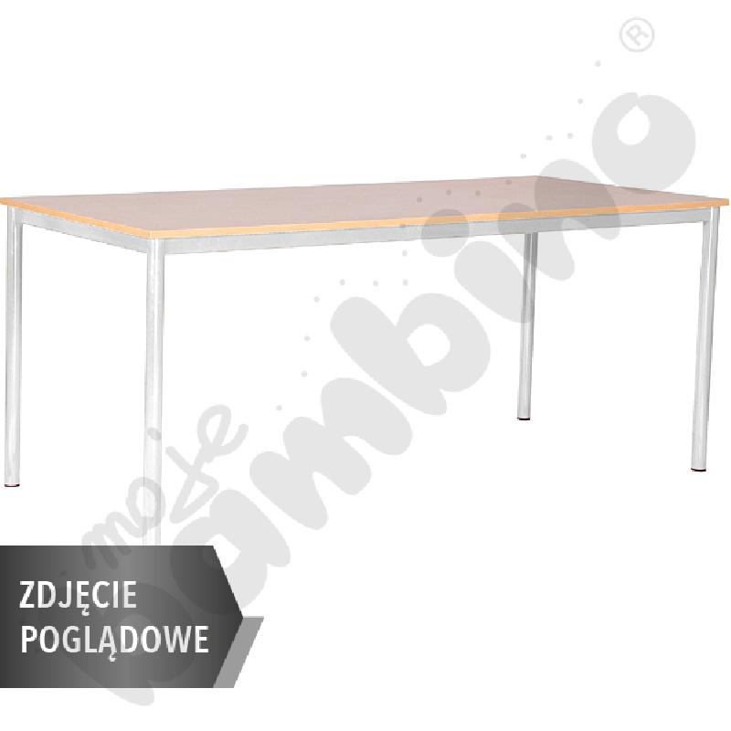 Stół Mila 180x80 rozm. 6, 8os., stelaż niebieski, blat buk, obrzeże ABS, narożniki proste